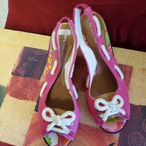 SPERRY Top sider nautical wedges size 8